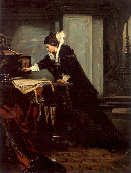 Елизавета подписывает смертный приговор Марии Стюарт.