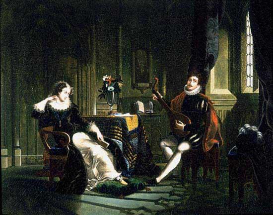 Шателяр играет на лютне для Марии, королевы Шотландской.